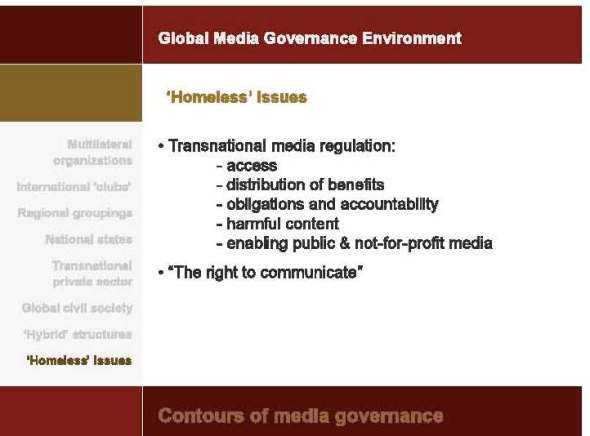 A slide from presentation of Prof. Marc Raboy (Department of Art History and Communication Studies, McGill University) on Sociology of Media Governance.
