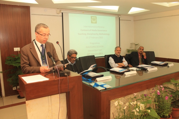 Prof. Francois Heinderyckx reads out his lecture in Edward Said Hall, Jamia