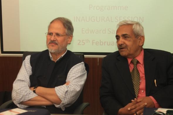 Vice Chancellor Shri Najeeb Jung, IAS listen to Prof. Francois Heinderyckx  in Edward Said Hall, Jamia Millia Islamia