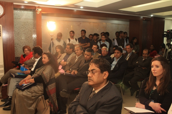 Scholars listen to Prof. Francois Heinderyckx as he reads out his lecture in Edward Said Hall, Jamia Millia Islamia