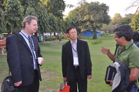 Prof. Peng Hwa with Prof. Stephen McDowell and Mr. Sunil Abraham at Khyaban-e Ajmal, Jamia Millia Islamia